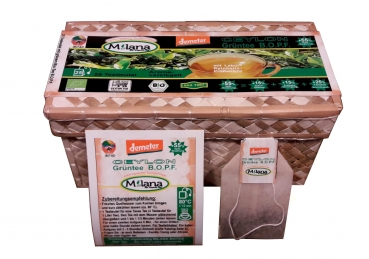 6 x 25 MILANA Ceylon DEMETER Organic GREEN TEA TEABAGS B.O.P.F. with 55 percent benefits support . The tea, ... that smells like love. (6 x EUR 5,99)